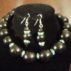 Jewelry - Women's handmade wood and crystal choker set
